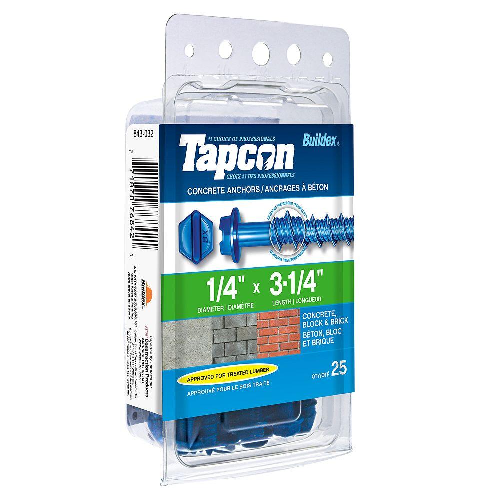 Tapcon 1/4-inch x 3-1/4-inch Slotted Hex Head Concrete Screw - 25 Pack