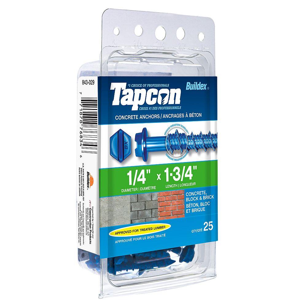 Tapcon 1/4-inch x 1-3/4-inch Slotted Hex Head Concrete Screw - 25 Pack