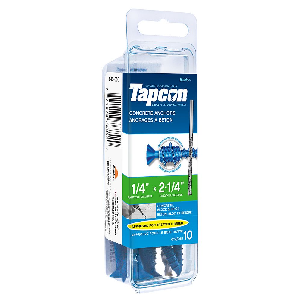 Tapcon 1/4-inch x 2-1/4-inch Flat Head Phillips Drive Concrete Screw With Bit - 10 Pack