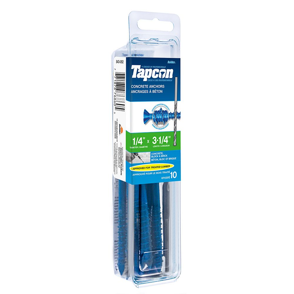 Tapcon 1/4-inch x 3-1/4-inch Flat Head Phillips Drive Concrete Screw With Bit - 10 Pack