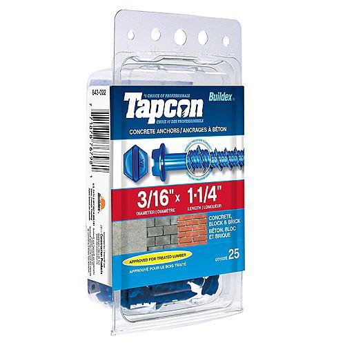3/16-inch x 1-1/4-inch Tapcon Slotted Hex Head Concrete Screw