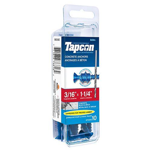 3/16-inch x 1-1/4-inch Tapcon Phillips Concrete Screw With Bit