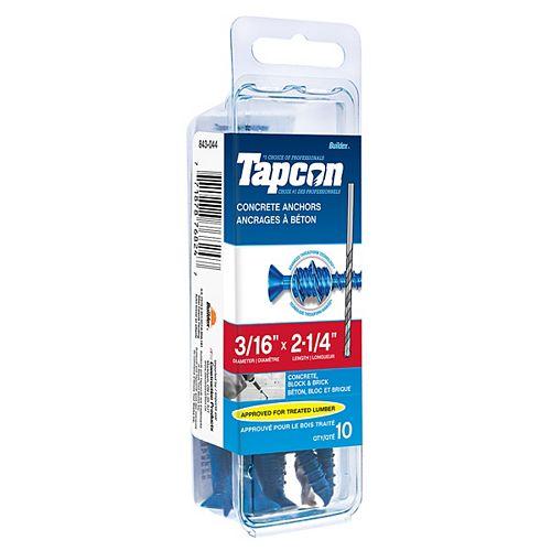 3/16-inch x 2-1/4-inch Tapcon Phillips Concrete Screw With Bit