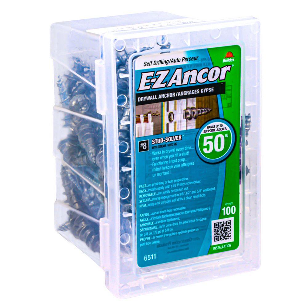 E-Z Ancor® #8 W/Sc E-Z Ancors Drywall Anchors Zinc (100-Pack)