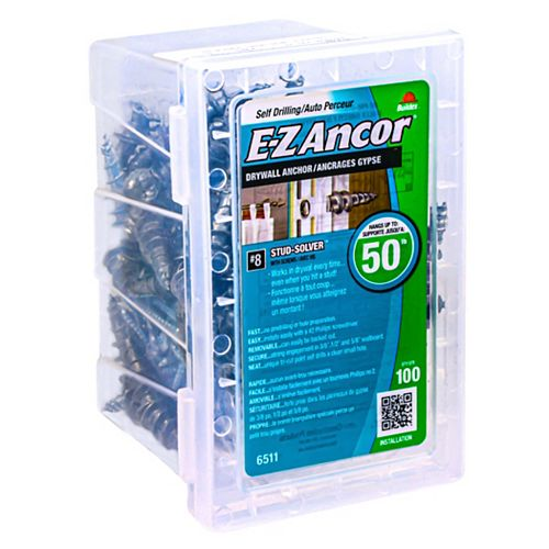 E-Z Ancor® #8 W/Sc E-Z Ancors Drywall Anchors Zinc (100-Pack)