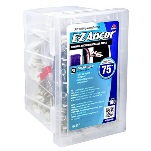 E-Z Ancor® Twist N Lock #8 Self-Drilling Nylon Drywall Anchors with Screws, Heavy Duty, 100pcs
