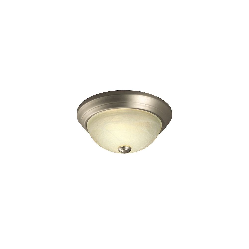 Hampton Bay Flushmount Ceiling Light Fixture in Pewter with Frosted Glass Shade