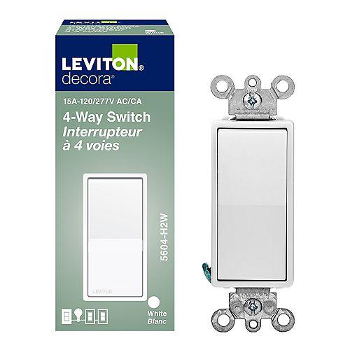Interrupteur Decora À Quatre Voies, 15A, Blanc