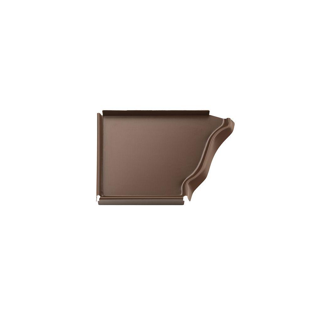 Peak Products 5-inch Aluminum Gutter Left End Cap in Brown