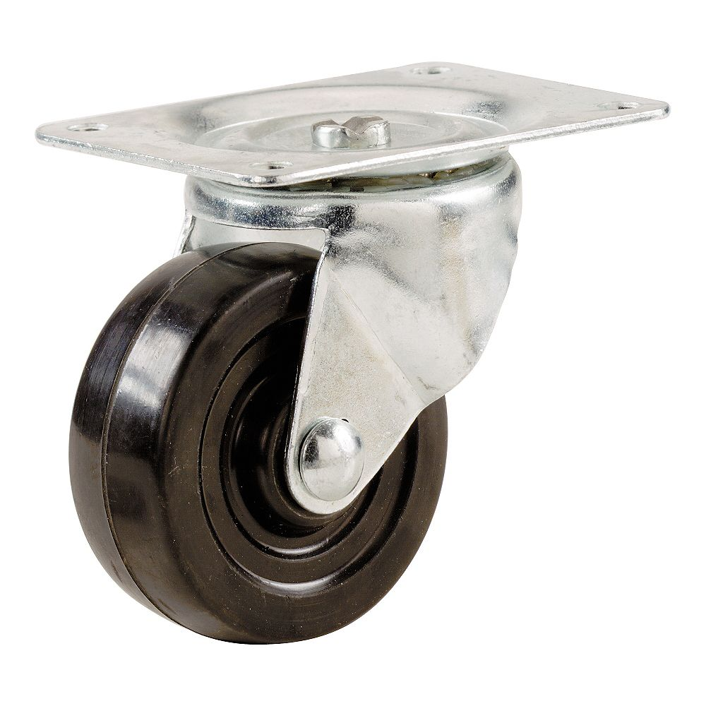 Everbilt 1-1/4 inch Soft Rubber Swivel Plate Caster with 30 lb. Load Rating