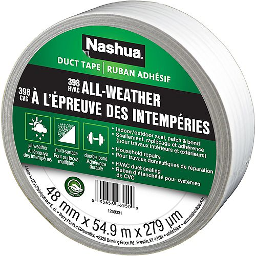 1.89 in x 60 yd 398 All-Weather Duct Tape White