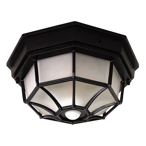 Heath Zenith 360 degree Black Motion lampe plafonnier octogonale activée