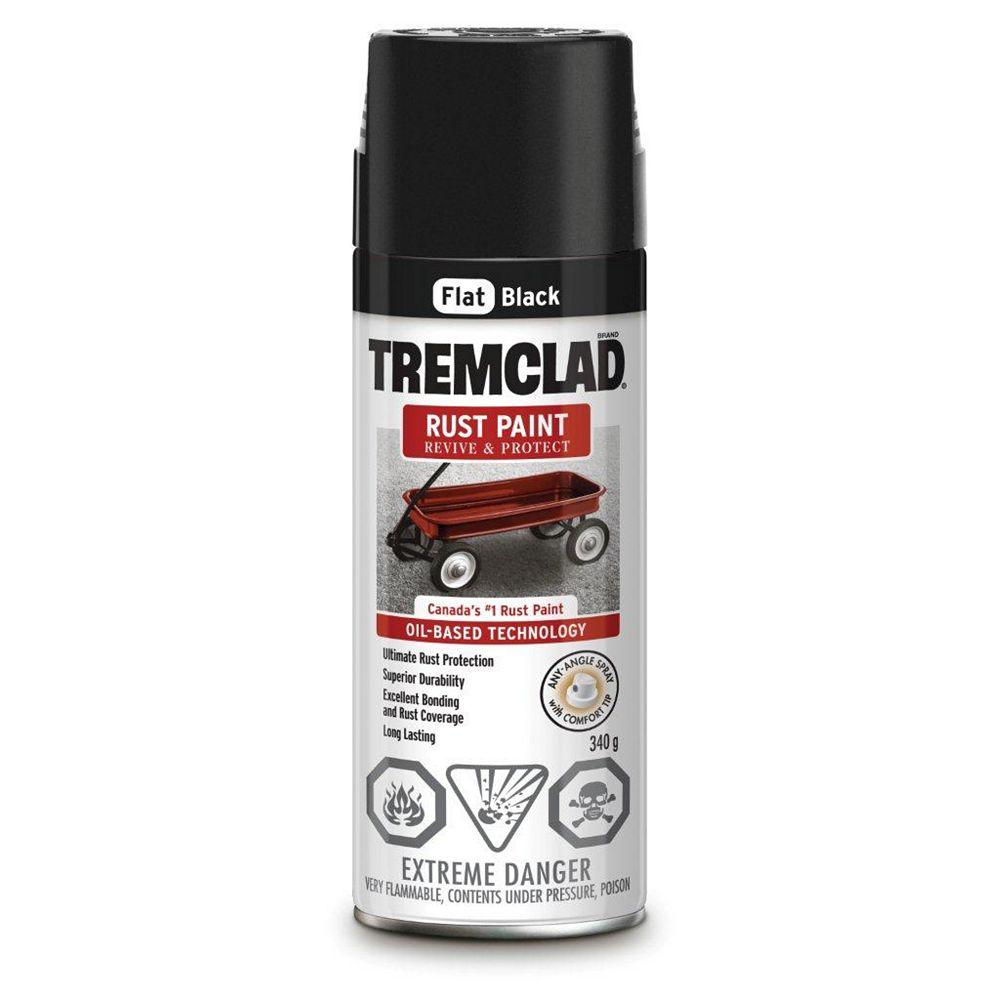 TREMCLAD Oil-Based Rust Paint In Flat Black, 340 G Aerosol Spray Paint