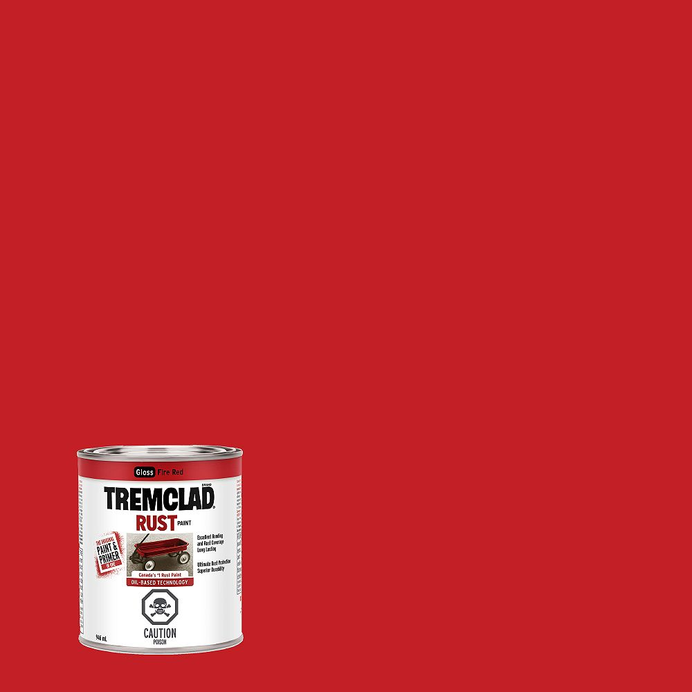 TREMCLAD Oil-Based Rust Paint In Gloss Fire Red, 946 mL