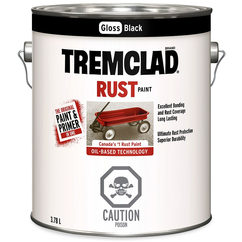 TREMCLAD Oil-Based Rust Paint In Gloss Black, 3.78 L