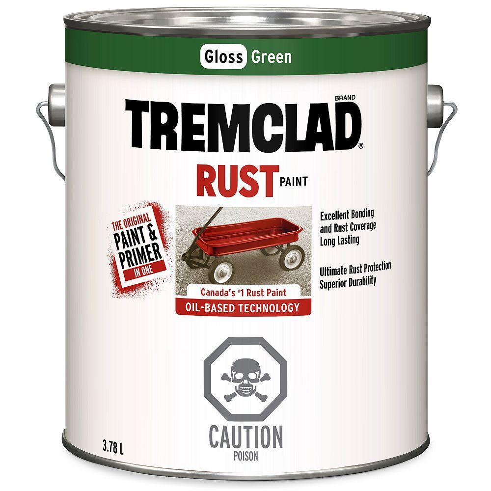 TREMCLAD Oil-Based Rust Paint In Gloss Green, 3.78 L