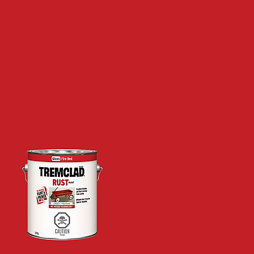 Oil-Based Rust Paint In Gloss Fire Red, 3.78 L