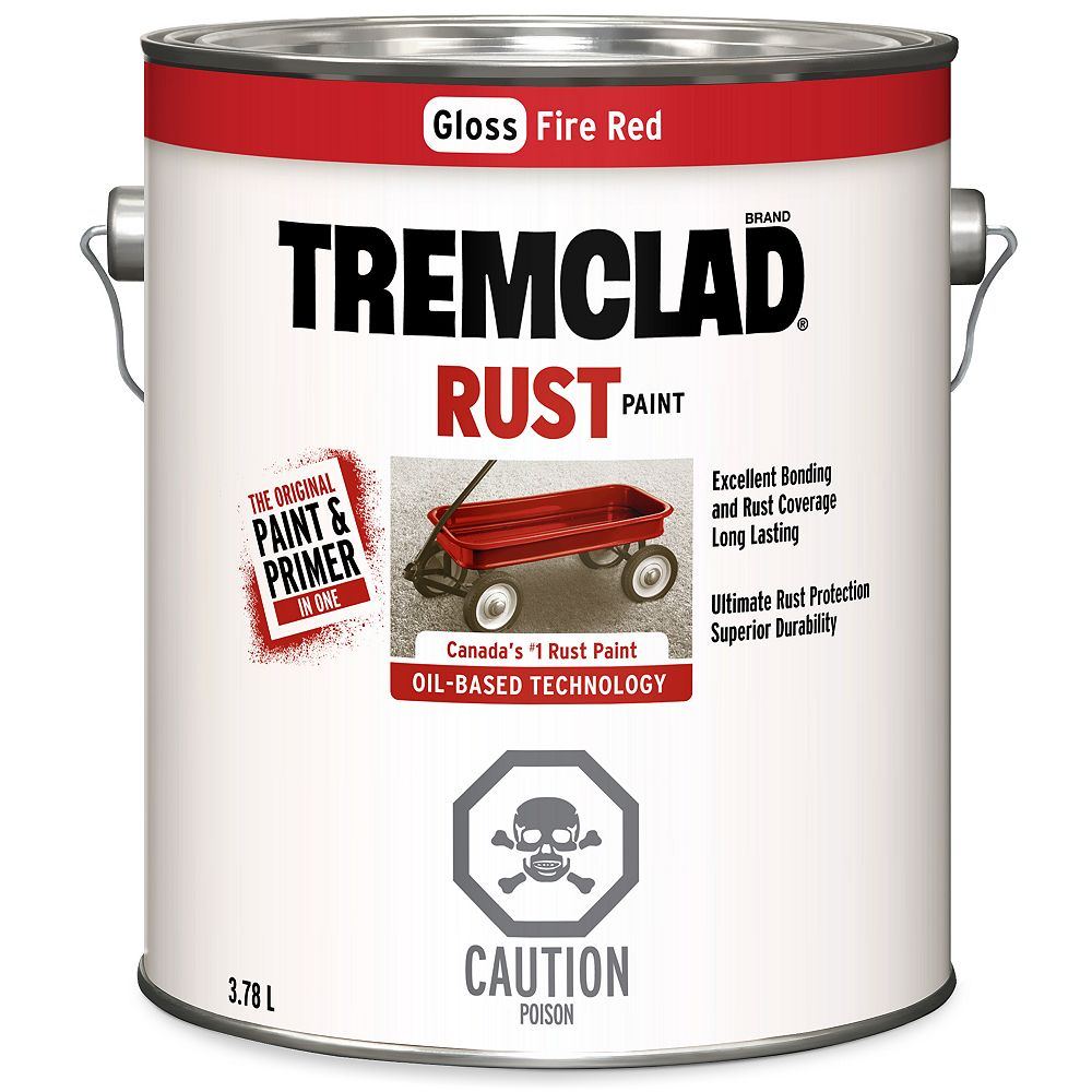TREMCLAD Oil-Based Rust Paint In Gloss Fire Red, 3.78 L