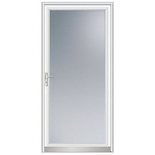 36-inch W 3000 Series Fullview White Screen Door with Nickel Hardware