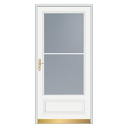 32-inch W 400 Series Venting White Screen Door with Brass Hardware