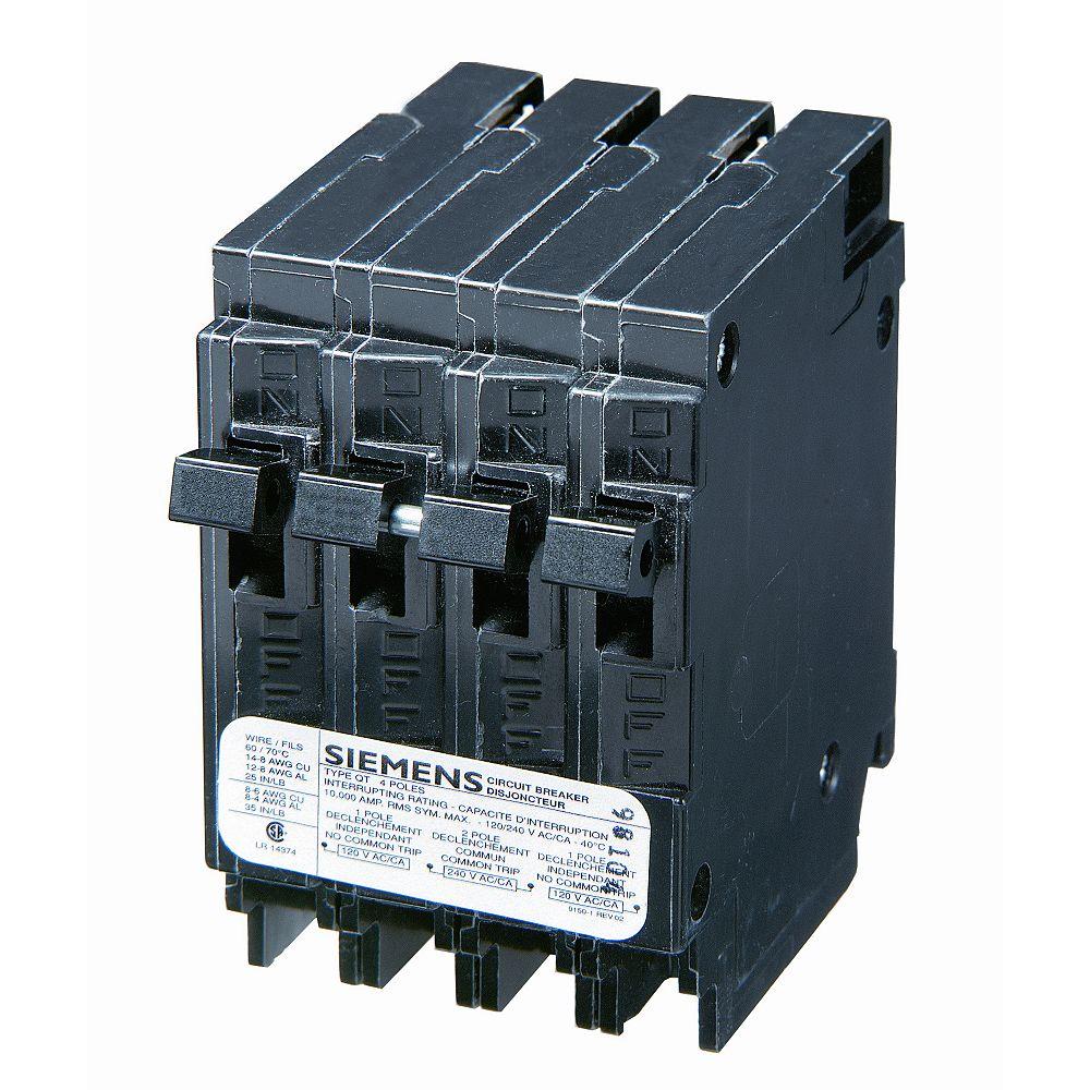 Siemens 15/30A 2 Pole 120/240V Quad Type Q Breaker