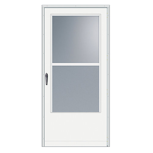 100 Series 32-inch W Venting White Screen Door with Black Hardware