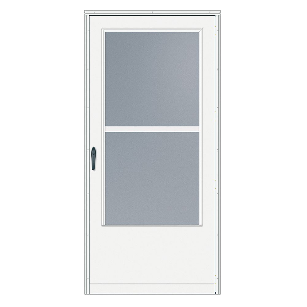 EMCO 32-inch W 200 Series Triple Track White Screen Door with Black Hardware