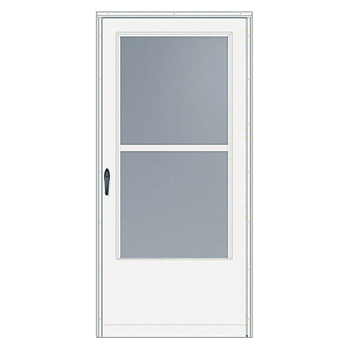36-inch W 200 Series Triple Track White Screen Door with Black Hardware