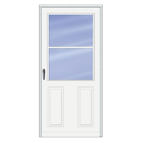 30-inch W 200 Series Traditional White Screen Door with Black Hardware