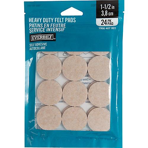 1-1/2-inch Heavy-Duty Self-Adhesive Felt Pads (24-Pack)