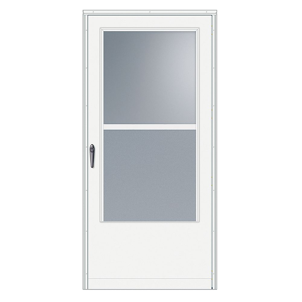 EMCO 33-inch W 100 Series Venting White Screen Door with Black Hardware