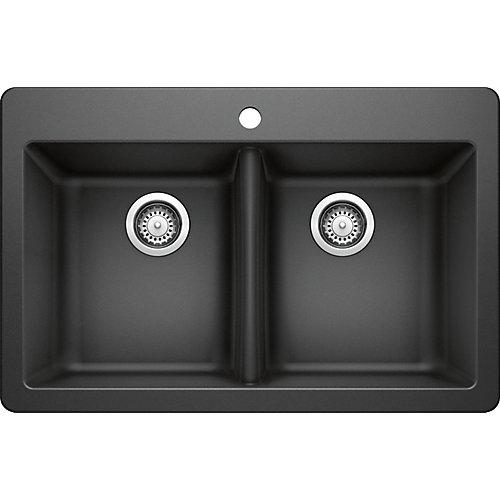 50/50 Dual Mount Black Sink