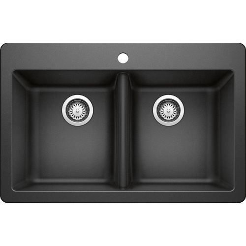 50/50 Dual Mount Black Sink