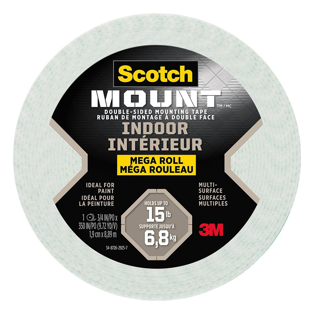 Scotch Scotch-Mount Indoor Double-Sided Mounting Tape Mega Roll 110H-LONGDC-EF, 0.75 in x 350 in (1.9 cm x 8.89 m), 1 Roll/Pack