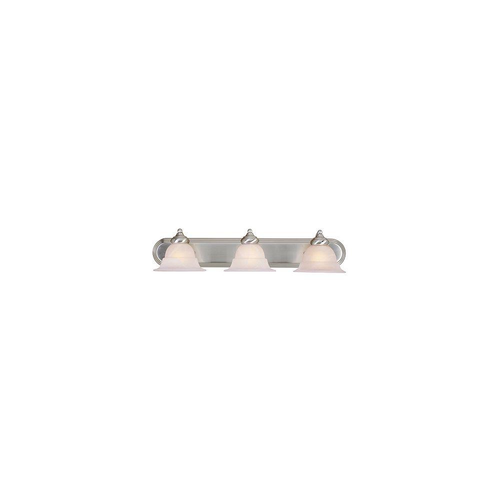 Hampton Bay Applique de salle de bains, nickel brossé, 3ampoules, diffuseurs en verre façon albâtre