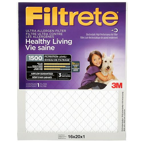 Filtrete Filters 16-inch x 20-inch x 1-inch Healthy Living  MPR 1500 Ultra Allergen Filtrete Furnace Filter