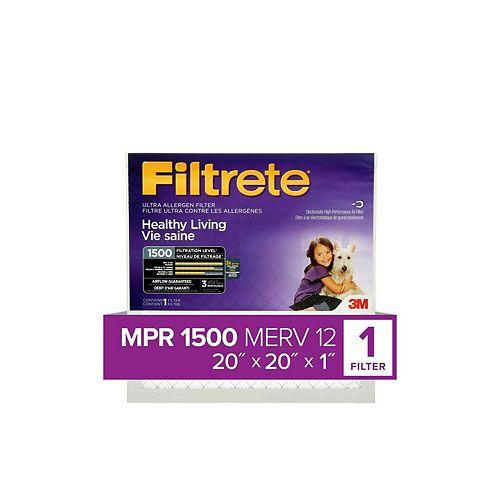20-inch x 20-inch x 1-inch Healthy Living MPR 1500 Ultra Allergen Filtrete Furnace Filter