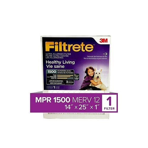 14-inch x 25-inch x 1-inch Healthy Living MPR 1500 Ultra Allergen Filtrete Furnace Filter