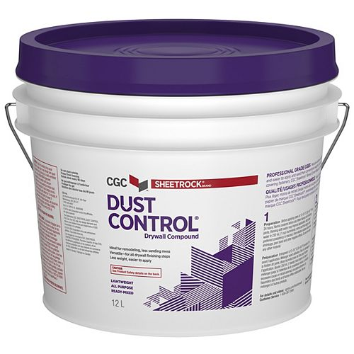 Dust Control Drywall Compound, Ready-Mixed, 12 L Pail