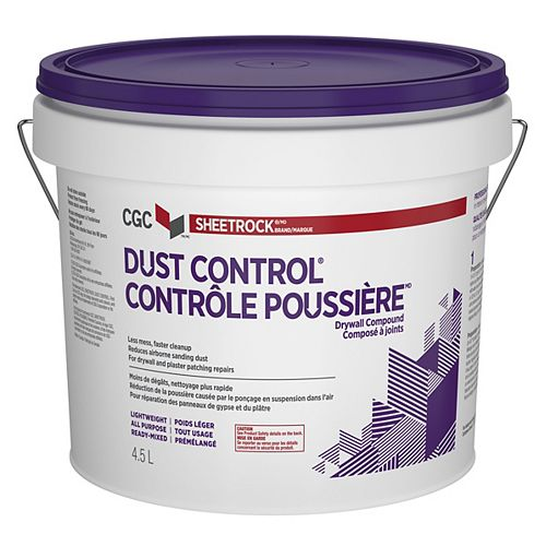 Dust Control Drywall Compound, Ready-Mixed, 4.5 L Pail