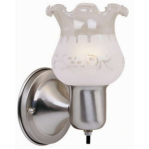 1-Light Brushed Nickel Sconce with On/Off Switch and Frosted Glass Shade