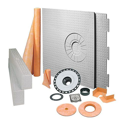 Kerdi-Shower 32 in. x 60 in. Off-Center Shower Kit in ABS with Stainless Steel Drain Grate