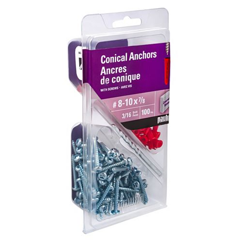 No. 8-10 x 7/8-inch Plastic Anchor (Assorted 100-Pack)