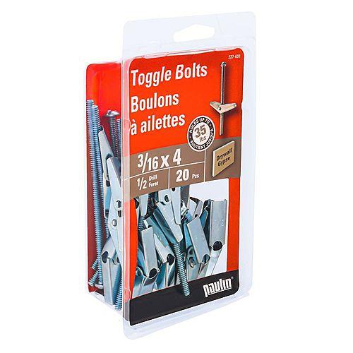Paulin 3/16-inch x 4-inch Toggle Bolt-Drill Size 9/16-inch - Zinc Plated