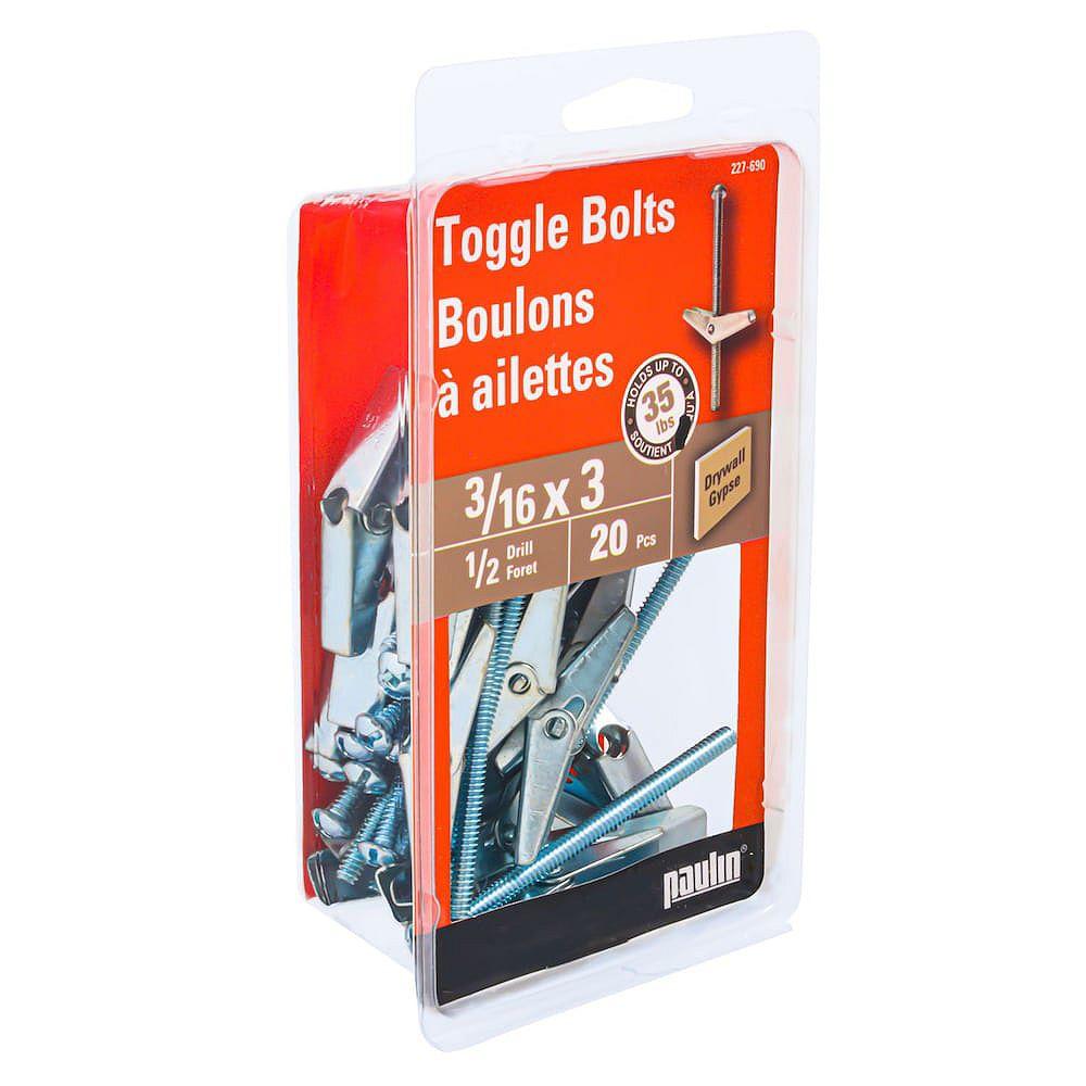 Paulin 3/16-inch x 3-inch Toggle Bolt-Drill Size 9/16-inch - Zinc Plated