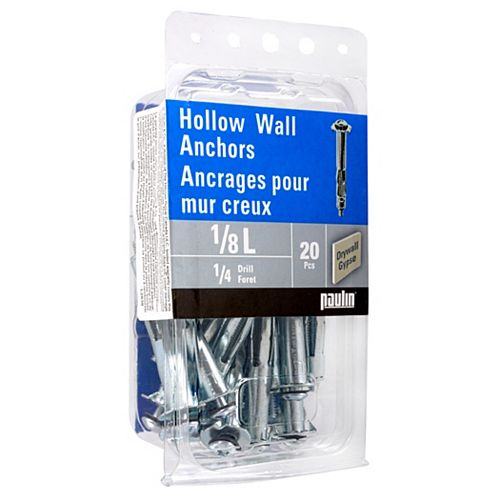 Papc 1/8L Hollow Wall Anchors 20Pc