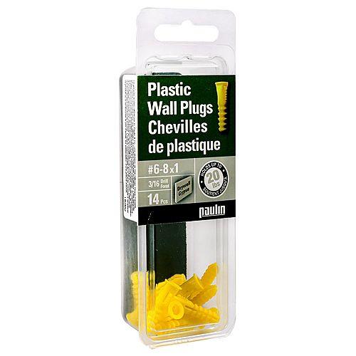 6-8x1-inch Yellow Plastic Anchors- 14pc