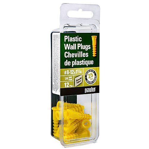 8-12x1-1/4-inch Yellow Plastic Anchors - 12pc