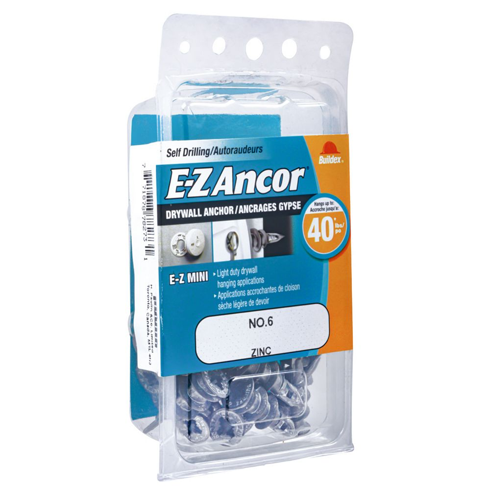 E-Z Ancor® E-Z Ancor® Mini #6 Self-Drilling Zinc Drywall Anchor, Light Duty, 20pcs