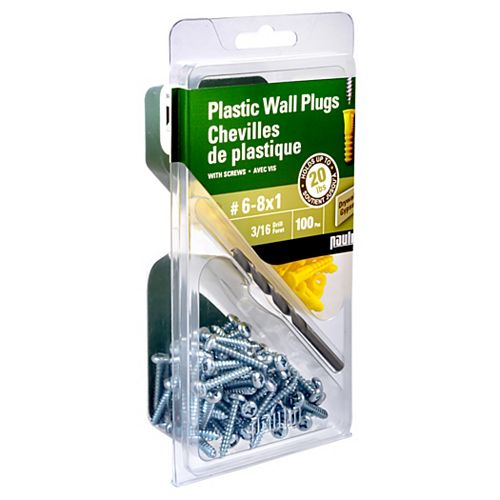 6-8X3/4 Plastic Anchors with Screws